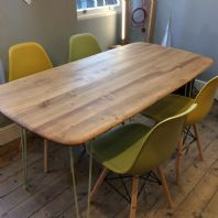 Solid Elm Vintage Dining Tabe On Contemporary Hairpin Legs